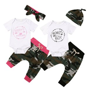 Summer Infant Toddler Baby Girls Tops Arrow Romper Bodysuit Jumpsuit Headband Camouflage Outfit Pants Sets