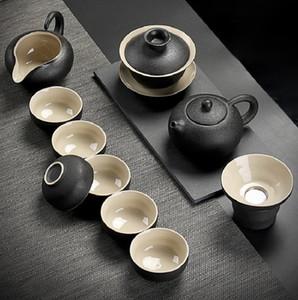 2020 giapponese Nero Ceramica Tea Set domestica minimalista Kung Fu Tea Set Retro Ceramic Tea Set