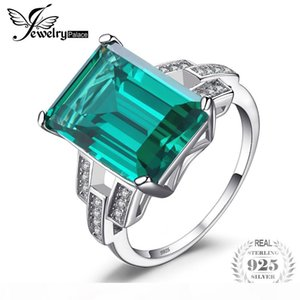 wholesale Luxury 5.9ct Created Green Emeralds Cocktail Ring Pure 925 Sterling Silver Engagement Vintage Jewelry