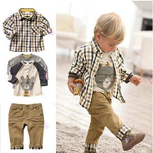 3Pcs Baby Boy Clothes Set Children Gentleman Outfits Boy Plaid Print Blouse+ Cartoon T-Shirt +Pants Toddler Suit Outfits Set 2-9