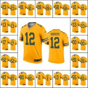 Green BayPackersMen #10 Jor dan Love 12 Aaron Rodgers 17 Davante Adams Women YouthNFL Custom Gold Inverted Legend Jersey