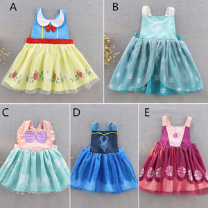 Niñas princesa Vestido Delantal Niños Cosplay Princesa Disfraces Disfraces Para Niños pequeños 2-6T lazo de la cinta de encaje de la pintura batas bebé lindo baberos