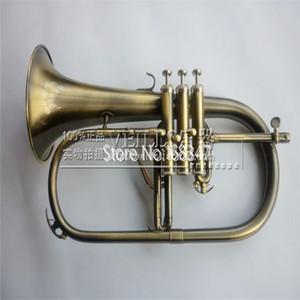 Пользовательский логотип высокого качества Bb Флюгельгорн Античной медь Bell Популярные музыкальный инструмент с Case рупор Бесплатной доставкой