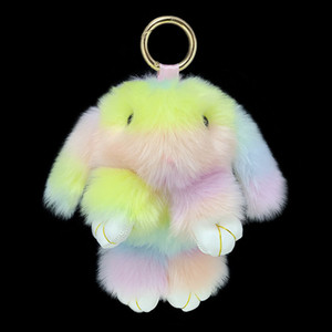 New Color Splicing Plush Bunny Pendant Artificial Faux Painted Girls Bag Car Hanging Custom Keychains for Gifts