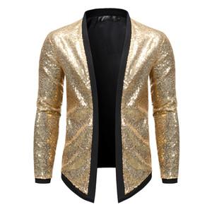 Mens-beiläufige Jacke European Code Fashion Jacket Men Nachtclub-Tanz-Performance Partei Cardigan Herren Jacke Größe S-2XL
