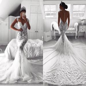 2020 Милая шеи Русалка Свадебные платья White O-образным вырезом атласная Русалка Свадебные платья Уникальные Robe De Mariage BA9614