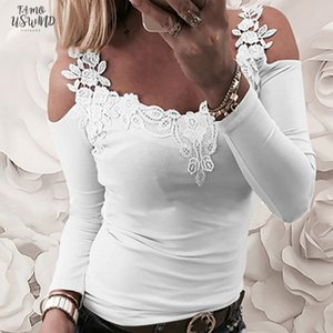 Spring Women O Neck T Shirt Sexy Long Sleeve T Shirts Strap Off Shoulder Lace Stitching Female Casual Slim T Shirts Top