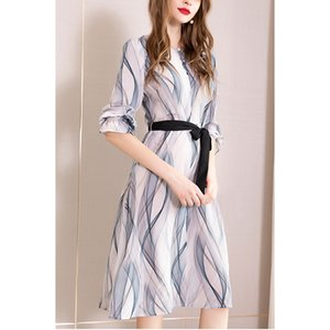2020 cross border European and American summer Sexy Chiffon printing new temperament fashion waist skirt womens dress