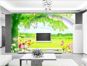 WDBH 3d wallpaper custom photo Outdoor green grass forest landscape background wall home decor 3d wall wallpaper for walls