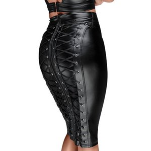 Gótico molhado olhar preto faux couro saia sexy punk volta zíper lace up wrap lápis saia verão bodycon midi saias mulheres