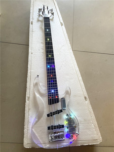 Yüksek kaliteli özel sürüm 5 dize akrilik kristal şeffaf pleksiglas elektrik bas gitar LED rengi yanıp sönen, ücretsiz kargo