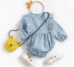 Ins Bebek giyim Bahar Güz 100% pamuk romper Yuvarlak Yaka Denim Mavi Uzun kollu Kız romper Bebek cuasual giyim