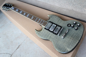 Factory Custom Gray Electric Guitar With Flame Maple Veneer,HHH Pickups,Chrome Hardware,Rosewood Fretboard,Can be customized