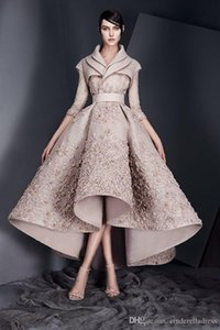 Conçu Ashi studio Robes de soirée à manches longues en dentelle Appliqued satin à volants Robes de bal haute Partie basse formelle Robes Custom Made
