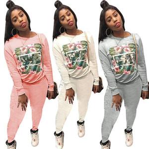 Diseñador de la mujer, 2 piezas, conjunto, cuello redondo, sudaderas con capucha, camisa de manga larga, leggings, pantalones bodycon, traje floral de primavera, más el tamaño 14