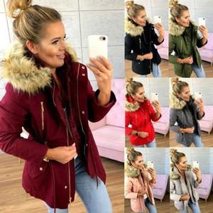 2019 frauen Parka Mode Herbst Winter Warme Jacken Frauen Pelzkragen Mäntel Tasche Zip Hoodies Büro Lady Baumwollmäntel Plus Größe