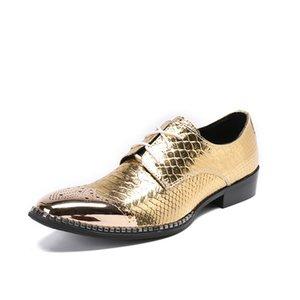 Charm2019 Penteado Divisão Afiada Peixe Dourado Padrões De Couro De Palco Tempo de Lazer Personalidade Masculino Sapatos de Salto Designer de Cabeleireiro