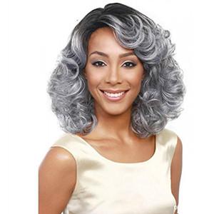 Lady Bob Hair Wigs 14 polegadas moda feminina longo encaracolado onda perucas de cabelo para as mulheres preto mix cinza encaracolado nenhuma peruca dianteira do laço (cor: cinza)