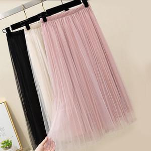Zoki Nuevo 2020 mujeres tul elástico de la falda de cintura alta de malla moda de primavera y verano falda larga cola Negro chica coreana plisada Faldas Y200704