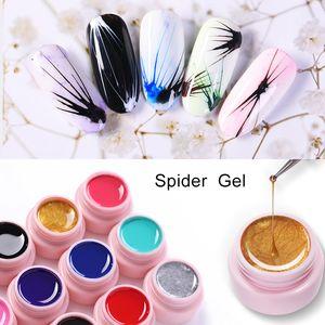 2019 moda 5 ml Dibujo Seda Spider Gel Nail Liner Pintura Gel Laca Tirando de Alambre Barniz Arte Decoración Esmalte de uñas