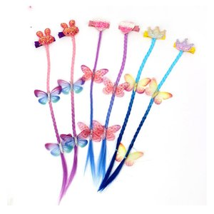 Glitter Crown Hair Clips With Long Wig Ponytails For Girls Heart Cartoon Hair Bows Baby Hairpins Hair Accessories