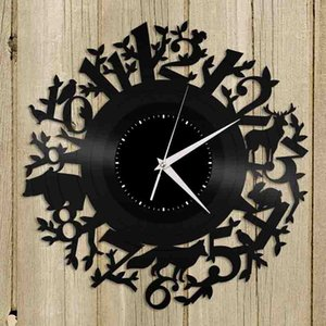 Forest Animal Vinyl Wall Clock Room Decoration Vintage Design Home Decor Handmade Art Personality Gift (Size: 12 inches, Color: Black)