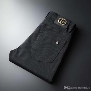 Новый чунь Ся товары высокого качества мужской тренд рекреационная прямая трубки брюки мужчины и черные длинные джинсы женских все идут вместе