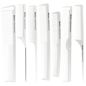 Pro Cabeleireiro carbono Comb na cor branca Popular resistente ao calor Cortar cabelo Comb Set Em 7 Designs Barber Set Favorita