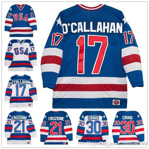 Venta al por mayor 17 Jack O'Callahan 30 Jim Craig 21 Mike Eruzione 1980 Olympic The Miracle Movie Team EE. UU. Jersey de hockey todos cosidos