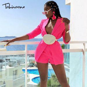 Tobinoone 2019 Autumn 2 Piece Set Women 우아한 공식적인 한 벌 Women Fashion Buttons 바지 2 피스 Set 탑 및 Pants