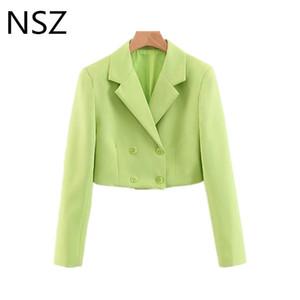 NSZ Женщины Обрезанные Blazer Feminino с длинным рукавом Двойной Брестед неоновый зеленый Короткие пальто куртки женские Делопроизводство Верхняя одежда Болеро