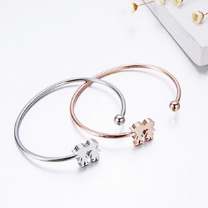 Stainless steel cuff bangle manufactuers silver rose gold plated lovers bracelet 316l women allergy free