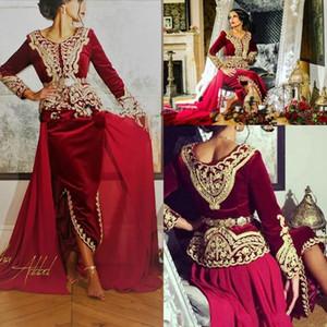2020 Kaftan karakou Cezayir Balo Uzun Kollu Burgonya Kadife Altın Dantel Peplum Durum Akşam Elbise Wear ile Formal Elbise