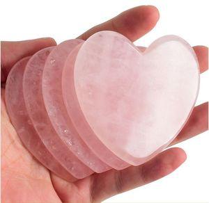 KCONYD 공장 도매 천연 옥 바디 페이스 Guasha 플레이트 로즈 석영 큰 심장 모양