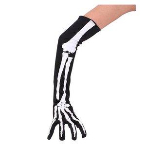 Nuevos guantes calientes de Halloween Bones Calcetines Medias negras Mitones Mujeres Hombres Invierno Cálido Garra Cinco dedos Cosplay Guantes de Navidad