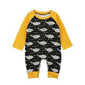 Yenidoğan Bebek Erkek Kız Köpekbalığı Uzun Kollu Romper Jumpsuit Kıyafetler Giyim Sevimli Bebek Giyim