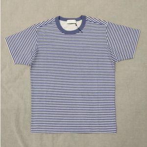 Stripe T Shirt 19ss European Fashion Marina magliette Pigmento stampato Immagine uomini e donne Coppia Confortevole Nuova camicia HFWPTX366