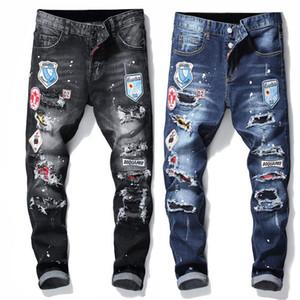 Progettista degli uomini jeans casuali candeggiati sostanza solida lavata pantaloni lunghi con Cerniera matita Asiatica Misura LR191221
