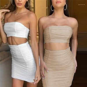 Dress Womens Two Piece Sets Fashion Natural Color Two Piece Dress Sexy Strapless Crop Top Above Knee