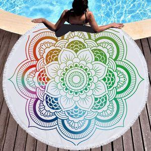 Rodada toalha de praia indiana Mandala Toalhas de praia poliéster Tapeçaria Tapeçaria Tassel Mulheres Xaile Yoga Mat Picnic Rug 22 Designs XH2110