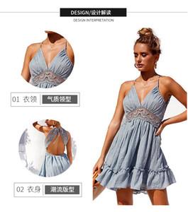 5XL Ev Giyim Dantel Elbise Cami Jurk Kant Yeni Seksi Abiye Spagetti Askı Bandaj Geri Derin V Yaka Yan Bölünmüş Yeşil PB