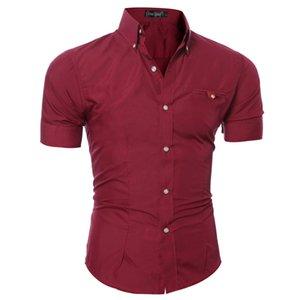 Summer Mens Slim Fit Chemises à manches courtes Chemises formelles d'affaires solides 8 Couleur simple boutonnage Homme Tops