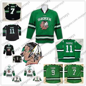 NCAA North Dakota Lutando Sioux Hawks # 11 Zach Parise 9 Jonathan Toovs 7 TJ Oshie White Preto Verde Costura Und Und Hockey Jersey