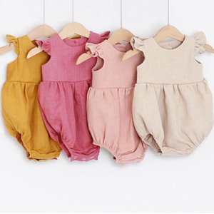 Newborn Romper Sleeveless Solid Girl 0-24M Kids Clothes Rompers Baby Costume T200706