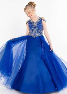 Lovely Royal Blue 2019 Girls Pageant Dresses Mermaid Satin Tulle V neck Cold Shoulder Backless Crystal Beaded Kids Prom dress Cheap Long