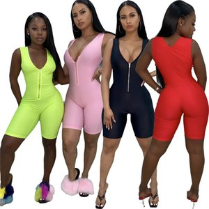 Women Short Jumpsuit Solid Color Bodycon Rompers Summer Sleeveless Overalls Fashion Sexy BodySuit Zipper Suspenders Hot Sale Clothing 2723