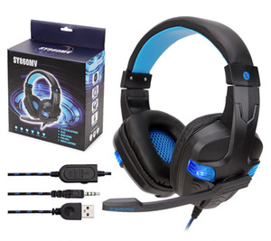 Soyto SY860MV longitud ajustable Stereo Surround USB 3.5mm para PS4 Xbox One Gaming Headset auricular de la venda llevó 10PCS / LOT