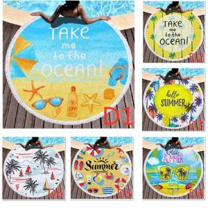 Лето круглый печатных пляжное полотенце бахромой пляжное полотенце покрывало йога коврик полиэстер скатерть открытый кемпинг пикник полотенце HH9-3004