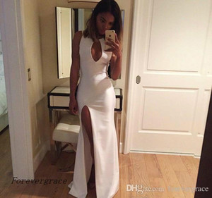 2019 New Cheap Sexy Mermaid Evening Dress White Royal Blue V Neck Split Formal Wear Party Gown Custom Made Plus Size