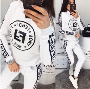 Mulheres tracksuits mulheres De duas partes Roupa Hoodie Set Treino Patchwork camisola Pant Long Jogger Outfit Set fêmeas agasalhos